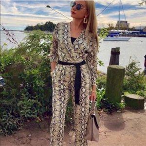 Zara snake print jumpsuit with belt
